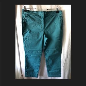 J.Crew Teal Ruffle Waist Cropped Pants (Size 12)